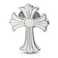 Брошь крест с белой эмалью PIN 404
