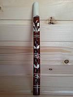 Детская деревянная дудочка (сопилка) 25 см с резьбой, коричневая