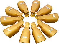 Зажим для ногтей MirAks CP-3609-10 Gold (Золотой/пластик/многоразовая/10 штук)