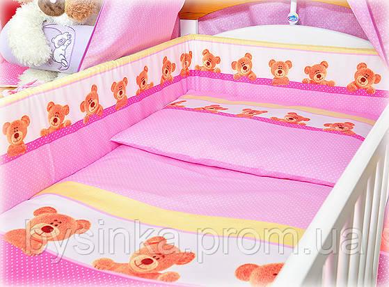 """Детское постельное белье в кроватку- """"Мишки в горошек"""""""
