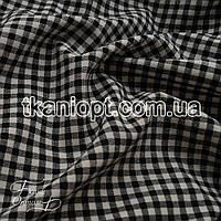 Ткань Софт стрейч клетка (черная-белая)