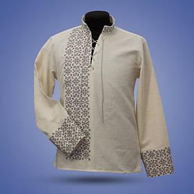 Супер модная мужская вышиванка на лене