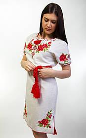 Вышитое женское платье лен короткий рукав