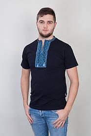 Вышитая мужская футболка черного цвета