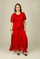 Женский летний костюм, большой размер блуза и юбка, фото 1
