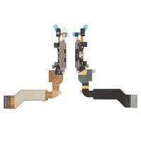 Шлейф для мобильного телефона Apple iPhone 4S, микрофона, коннектора зарядки, черный, с компонентами