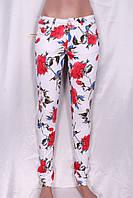 Белые джинсы с цветочным принтом, фото 1