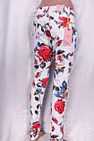 Білі джинси з квітковим принтом, фото 4