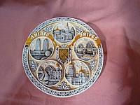 Тарель декоративная лепная полистероловая светлая с изображением города Днепропетровска 21 см.диаметр