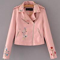 Куртка Dior с вышивкой экокожа люкс розовая