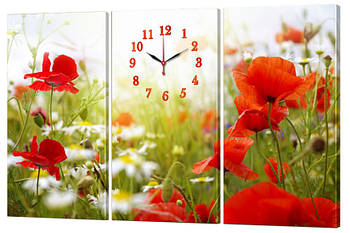 Часы-модульная картина 267 Маки (150x95 см)