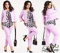 Костюм брючный тройка с блузкой и пиджаком размеры 50,52,54,56