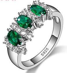 Кольцо 925 Венецианское зеленое, цирконий ААА, размер 17, 18