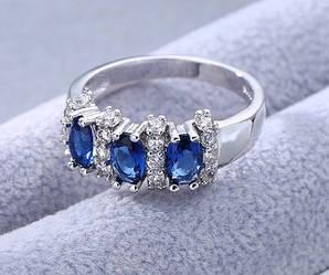 Кольцо серебро, цирконий ААА, размер 17, 18, 19