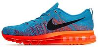 Мужские спортивные кроссовки Nike Air Max Flyknit Найк Аир Макс Флайнит голубые