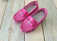 Розовые мокасины на девочку легкие с бантиками 26, 27, 28, 29, 30, 31 размер