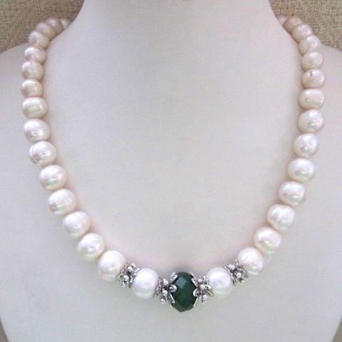 Кольє, браслет, сережки - натуральний перли, хризопраз