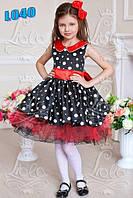 Детское нарядное платье L040 белое с бирюзой, горох, ретро - прокат, Киев, троещина