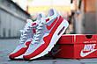 Кроссовки Nike Air Max 1 Flyknit белые с красным,летние, фото 4