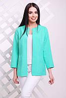 Элегантный женский удлиненный пиджак без застежки однотонный мята