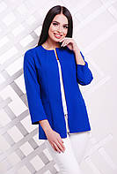 Элегантный женский удлиненный пиджак без застежки однотонный электрик