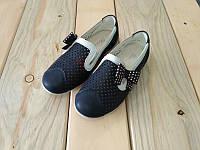 Туфли на девочку легкие в дырочку синие с бантиком  27, 28, 29, 30, 31, 32 размер