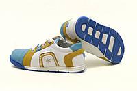 Кроссовки детские на шнурках и молнии бело-голубые