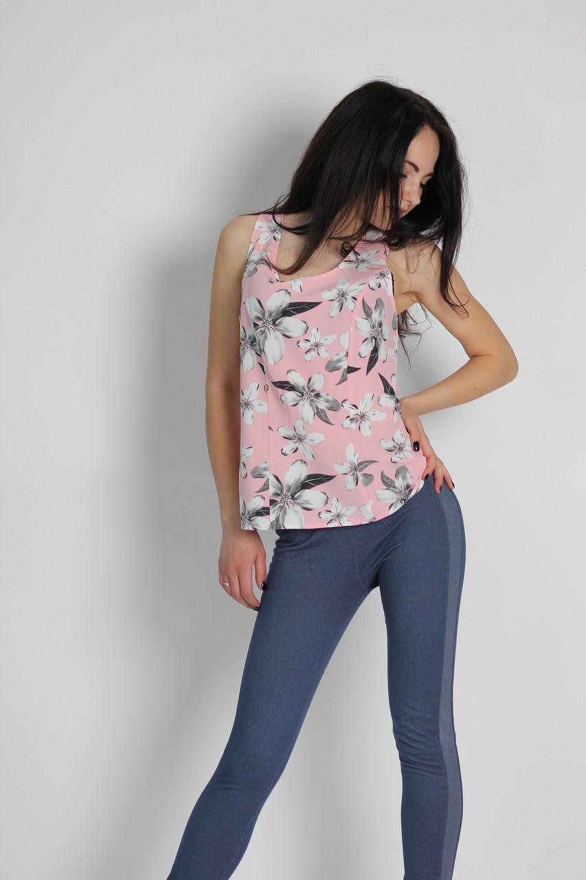 """Женская блузка - безрукавка """"Tasani"""" цветочный принт"""
