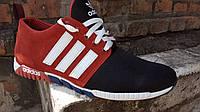 Мужские кроссовки адидас (красно черные), фото 1