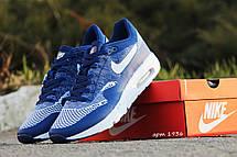 Модные кроссовки Nike Air Max 1 Flyknit,ярко синие, летние, фото 3