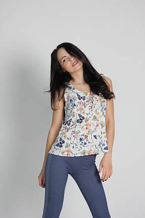 """Женская блузка - безрукавка """"Tasani""""  принт бабочки, фото 2"""