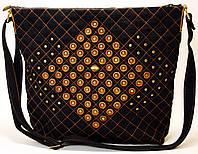 Женская джинсовая сумочка с рыжей кожей