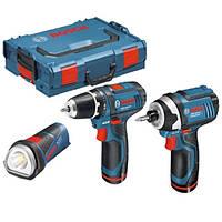 Набор инструментов Bosch GSR 10.8-2-Li + GDR + GLI + L-BOXX