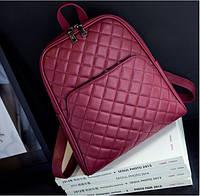 Рюкзак кожаный стеганый с карманом (марсала)