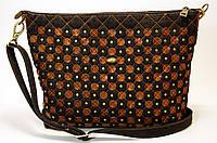 Женская джинсовая сумочка с рыжими кожаными кружочками , фото 1