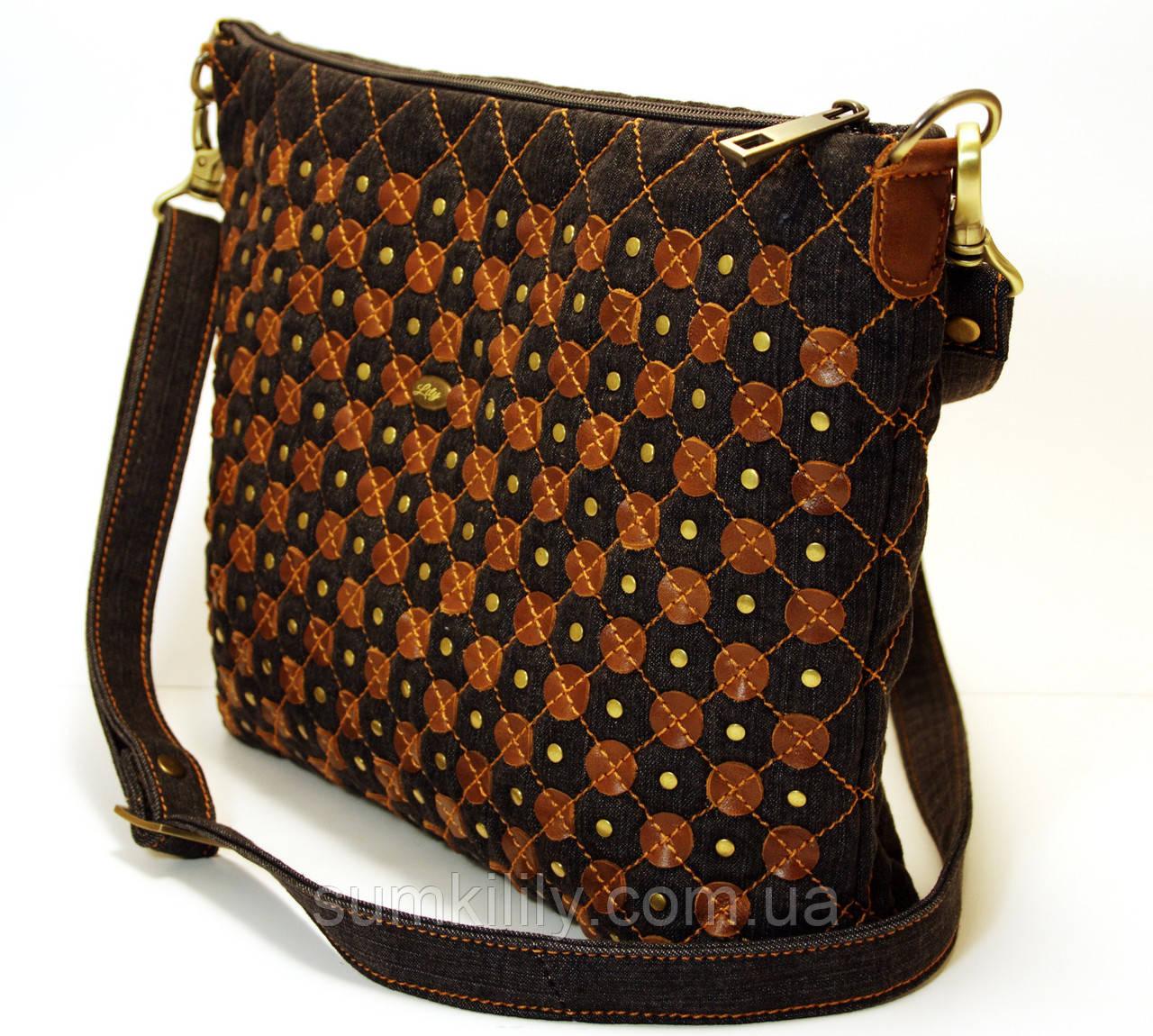 0d5cf3ee33fc Женская джинсовая сумочка с рыжими кожаными кружочками , цена 620 грн.,  купить в Днепре — Prom.ua (ID#516299781)