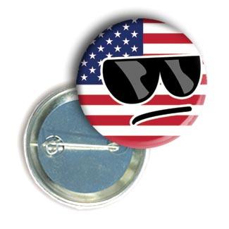 """Закатной круглый значок - смайл """"Флаг США"""""""