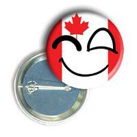 """Закатной круглый значок - смайлик """"Флаг Канады"""""""