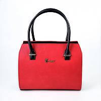 Коралловая женская сумка прямоугольная деловая