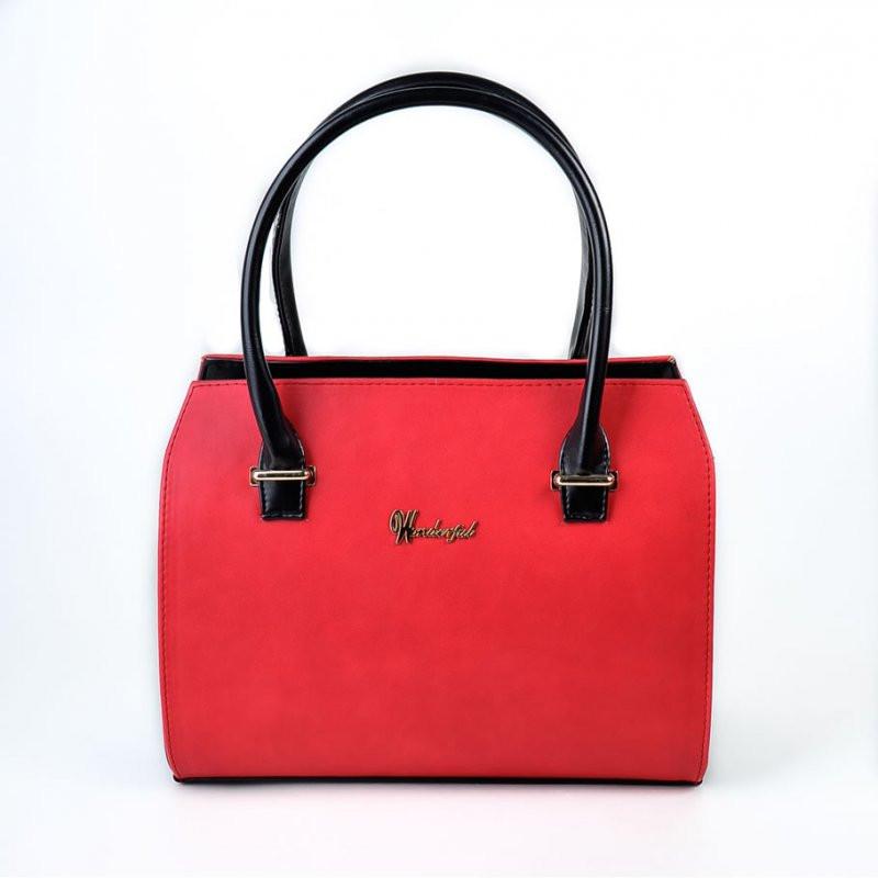 e409aee86b09 Коралловая женская сумка М50-53/Z прямоугольный деловой летний саквояж с  черными ручками -