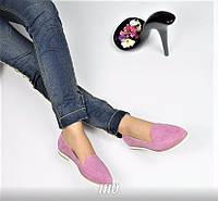 Женские туфли лоферы из натуральной замши, подошва 1,5 см, фиолетовые / лоферы женские 2017, модные