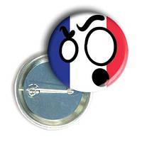 """Закатной круглый значок - смайлик """"Флаг Франции"""""""