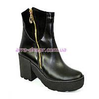Зимние кожаные женские ботинки на устойчивом каблуке, на меху, утолщенная подошва.