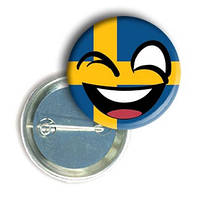 """Закатной круглый значок - смайлик """"Флаг Швеции"""""""