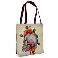 Женская сумка Нежность с принтом Череп и цветы