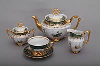 Чайный сервиз ОХОТА Зеленая Bavaria на 6 персон 15 предметов