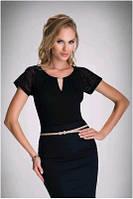 Блузка, кофточка женская черная с коротким рукавом Eldar ETIENNE 2017 офисная деловая одежда