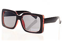 Женские солнцезащитные очки классика глянцевый черный/темно-вишневые прозрачные вставки внутри оправы и дужек