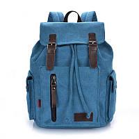 Синий брезентовый рюкзак для города и похода