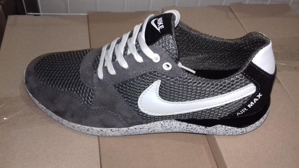 Мужские кроссовки Nike AIR Max черные (сетка+замша) - Интернет магазин